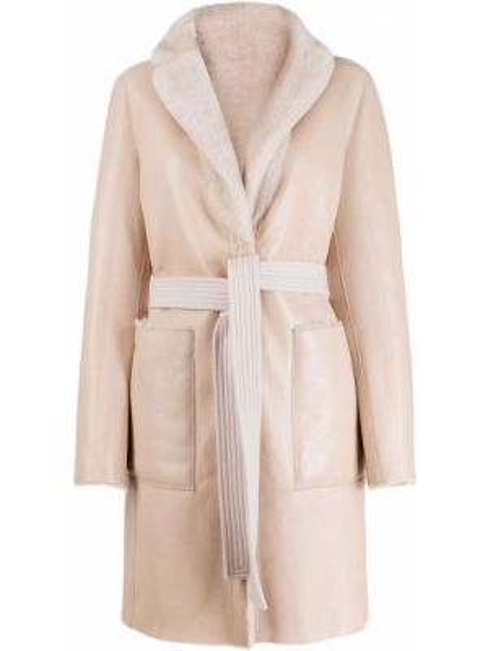 Розовое кашемировое длинное пальто с капюшоном Blancha