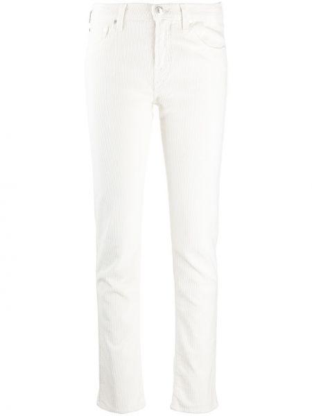 Белые зауженные классические брюки вельветовые Jacob Cohen