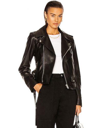 Черная кожаная куртка на молнии Helmut Lang