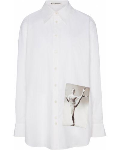Блузка с длинным рукавом с лацканами белая Acne Studios
