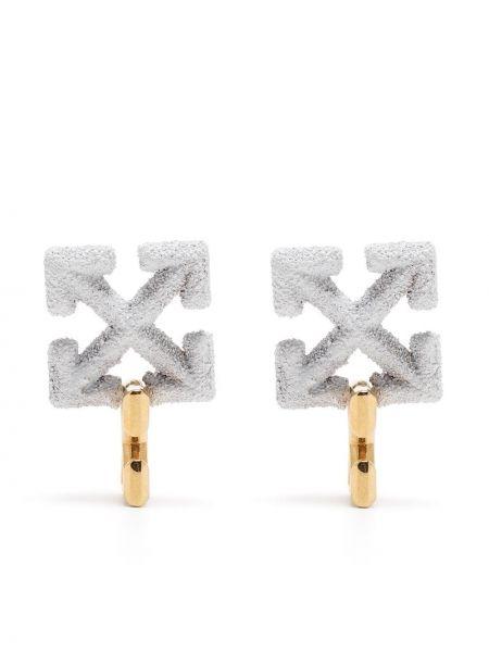 Золотистые серьги-гвоздики золотые металлические Off-white