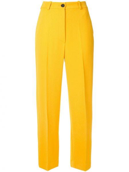 Желтые брюки со складками с воротником на пуговицах Nehera