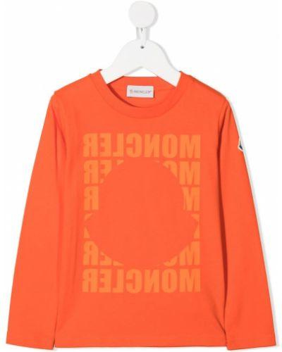 Оранжевая прямая с рукавами футболка Moncler Kids
