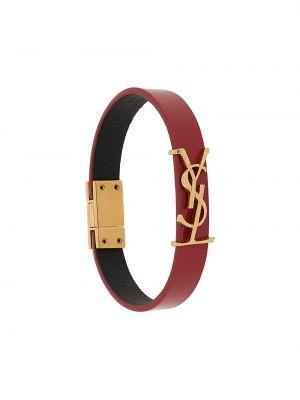Кожаный браслет - красный Saint Laurent