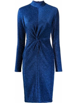 Прямое с рукавами синее платье макси Karl Lagerfeld