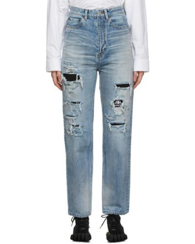 Прямые белые джинсы с карманами Balenciaga