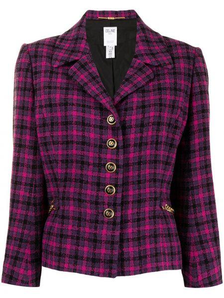 Пиджак твидовый в клетку двубортный Céline Pre-owned