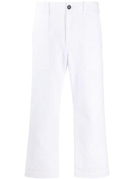 Хлопковые прямые белые укороченные брюки на молнии Jejia