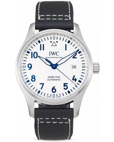 Biały zegarek na skórzanym pasku srebrny z klamrą Iwc Schaffhausen