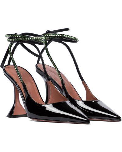 Черные кожаные туфли-лодочки на каблуке Amina Muaddi