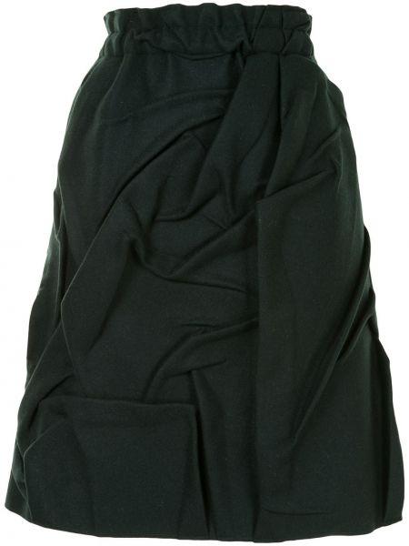 Wełniany trykotowy zielony trykotowy spódnica z falbankami Mm6 Maison Margiela