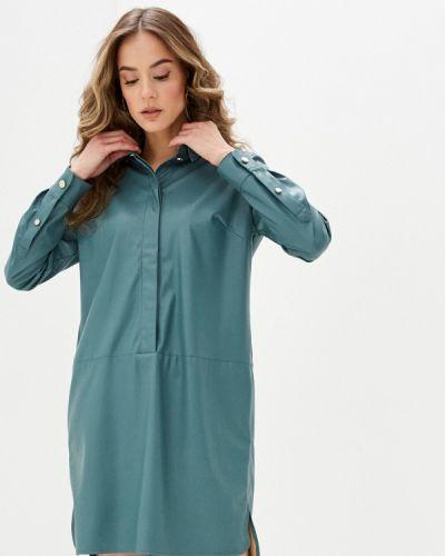 Бирюзовое кожаное платье Zarina