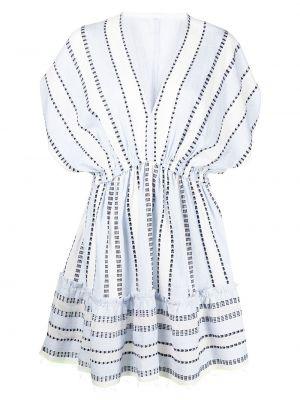 Biała sukienka mini z printem Lemlem