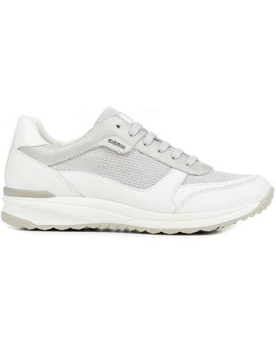 Кожаные кроссовки текстильные серебряный Geox