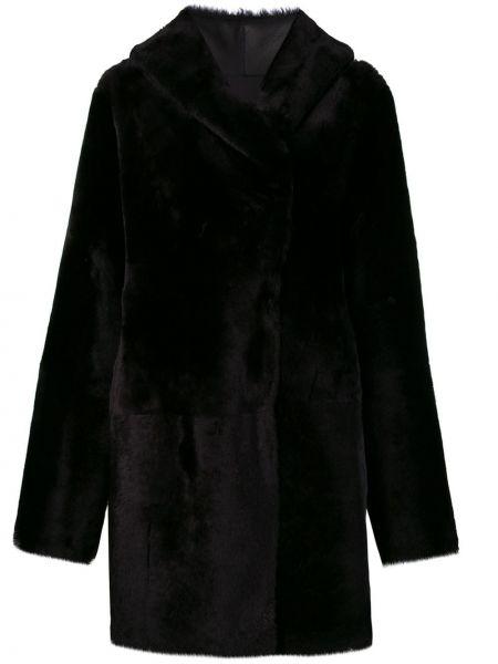Черное кожаное пальто с капюшоном Sylvie Schimmel
