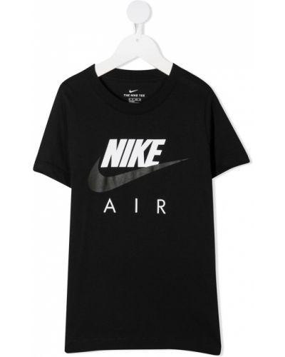 Прямая черная футболка с вырезом Nike Kids