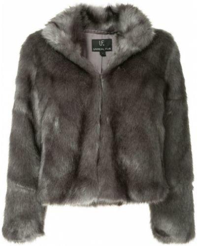 Серая шуба из искусственного меха с лацканами Unreal Fur
