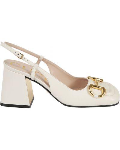 Białe sandały skorzane Gucci