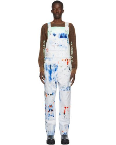 Кожаный синий джинсовый комбинезон с карманами S.r. Studio. La. Ca.