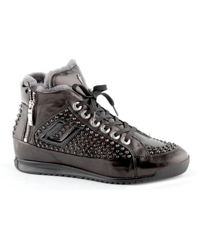 Черные кроссовки с мехом Cesare Paciotti
