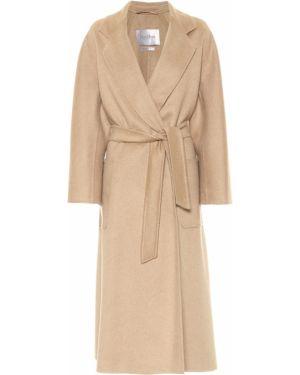 Кашемировое бежевое пальто с поясом Max Mara