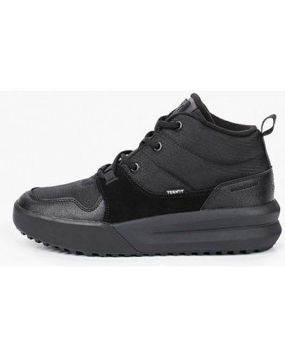 Кожаные черные высокие кроссовки Termit