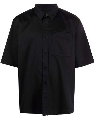 Czarna koszula bawełniana krótki rękaw Han Kjobenhavn