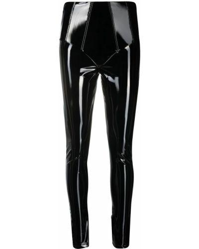 Czarne legginsy z wysokim stanem skorzane Gcds