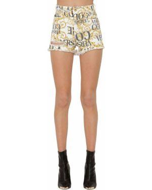 Джинсовые шорты со стразами Versace Jeans Couture