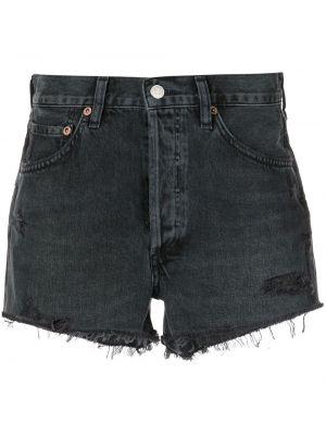 С завышенной талией хлопковые черные джинсовые шорты Agolde
