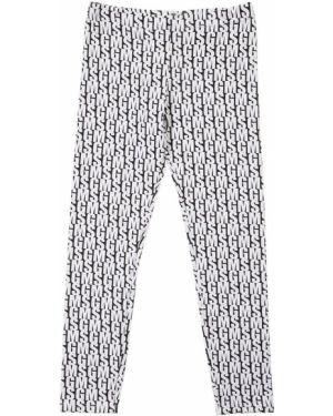 Białe legginsy bawełniane z printem Msgm