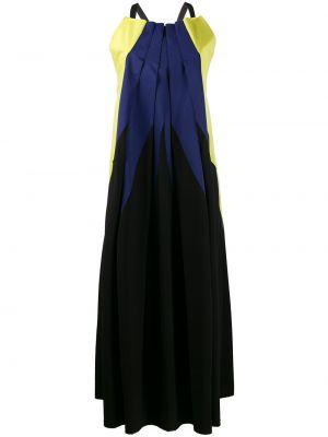 Черное платье макси винтажное без рукавов с вырезом Issey Miyake Pre-owned