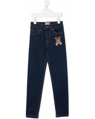 Облегающие джинсы-скинни на молнии с нашивками Moschino Kids