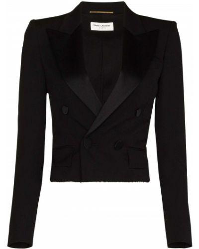 Шерстяной черный удлиненный пиджак на пуговицах Saint Laurent