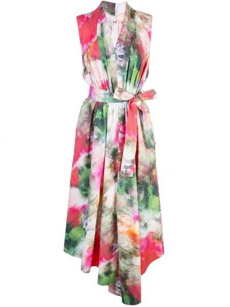 Платье с поясом с цветочным принтом с V-образным вырезом Adam Lippes