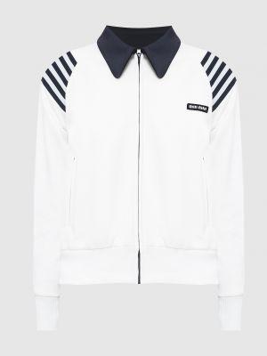Белая спортивная куртка Miu Miu