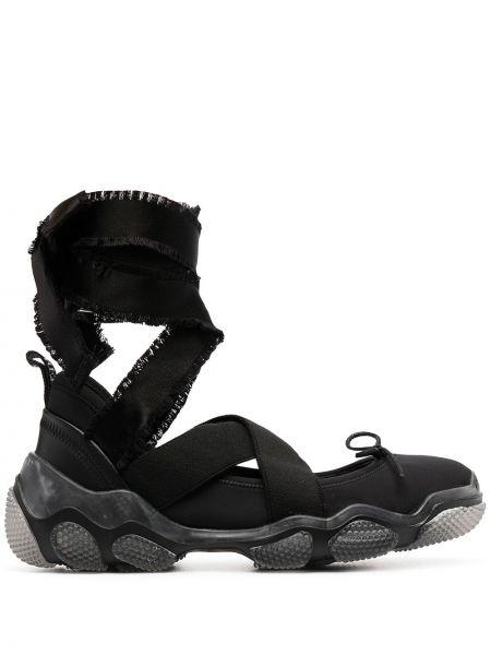 Czarne sneakersy sznurowane koronkowe Redvalentino
