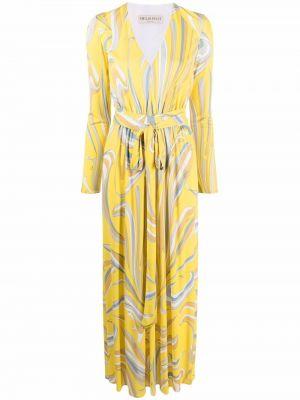 Платье макси с длинными рукавами с принтом из вискозы Emilio Pucci