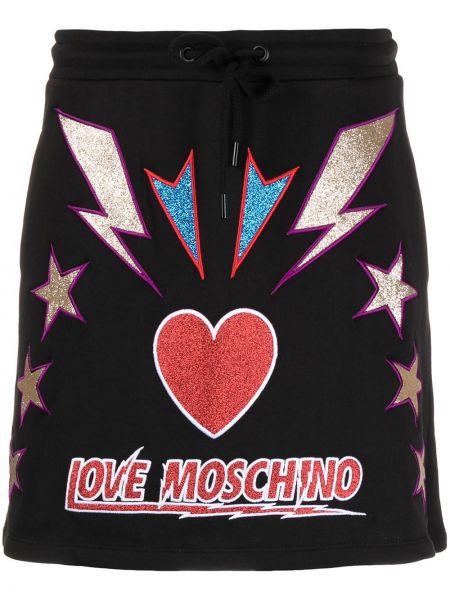 Ze sznurkiem do ściągania bawełna czarny spódnica ołówkowa z haftem Love Moschino