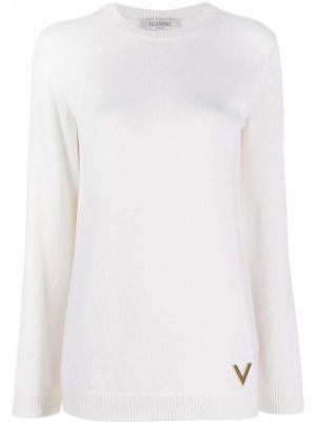 Белый кашемировый длинный свитер с вырезом Valentino