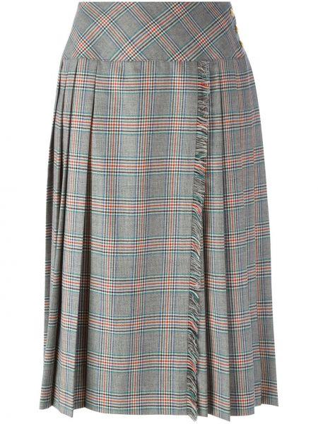 Серая плиссированная юбка с бахромой винтажная на пуговицах Céline Pre-owned