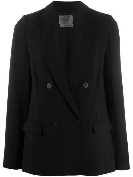 Шерстяной черный пиджак двубортный Forte Forte