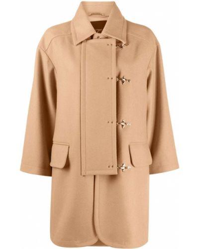 С рукавами шерстяное пальто оверсайз с воротником Fay