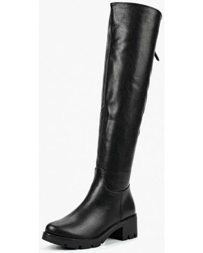 Черные ботфорты кожаные Evita