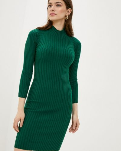 Ватное хлопковое зеленое прямое платье Fresh Cotton