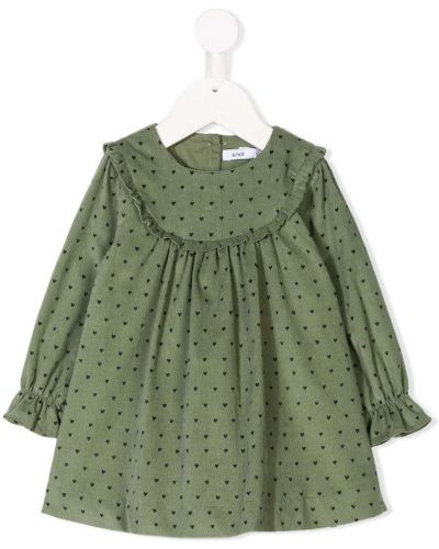 Зеленое платье с рукавами вельветовое круглое с воротником Knot