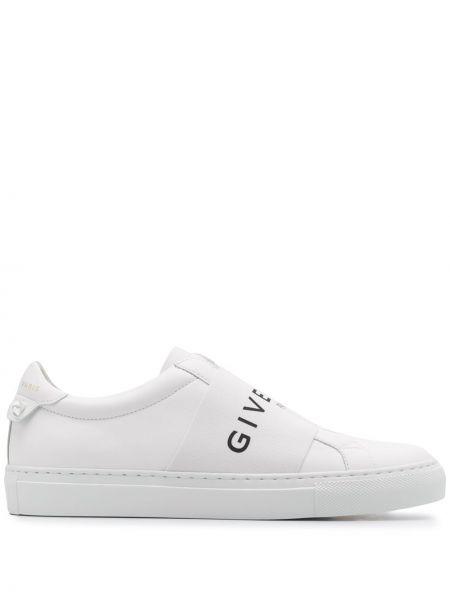 Кожаные белые кроссовки эластичные без застежки Givenchy