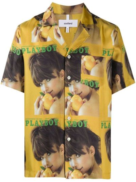 Желтая прямая рубашка с короткими рукавами на пуговицах с карманами Soulland
