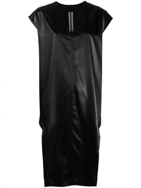 Czarny sukienka midi krótkie rękawy z dekoltem w szpic z kieszeniami Rick Owens