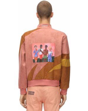Prążkowana różowa kurtka z haftem Kidsuper Studios